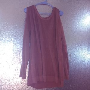 Torrid burnt orange/red cold shoulder sweater sz 3